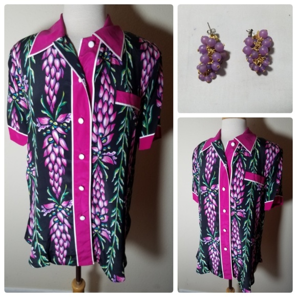 c524e7e193b97 Bob Mackie NWT Silk Floral Button Up Top + Earring